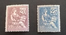 France 1901 - 2 mouchon type stamps - type 1 - Yvert No 113 and 114.