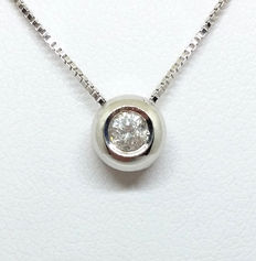 18 kt (750/1000) white gold light point, with 0.12 ct round brilliant cut diamond (Colour: H - Clarity: VS2) ***No reserve***