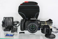 Olympus E520 with Olympus 14-42mm f3.5-5.6ED, two batteries & 4GB CF card