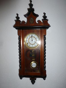 Wall clock – mahogany – regulator clock – 1970s