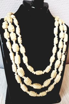 Antique ivory rose necklace