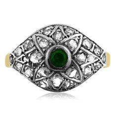 Diamond and Synthetic Emerald Ring, Ca 1875. - No Reserve