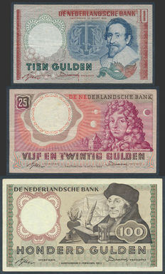 Netherlands 10 guilders - 1953, 1953-1955 and 25 Guilders 100 Guilders NVMH 48-1a, 83-1a and 121-1