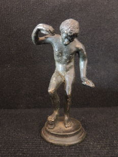 Patinated bronze - satyr or musician - antique model - ca 1900