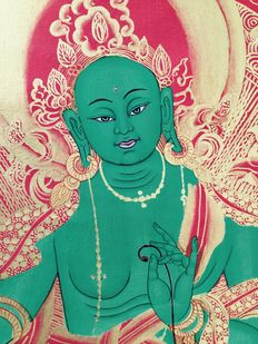Thangka showing a green, large format  – Nepal – fiend 20th century.