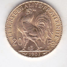 "France, 20 francs, 1907, ""Coq Marianne"", gold"