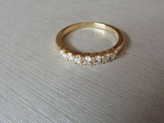 18k Gold Diamond 7 Stone Band Ring  - 0.42ct  I, SI1 - size 53