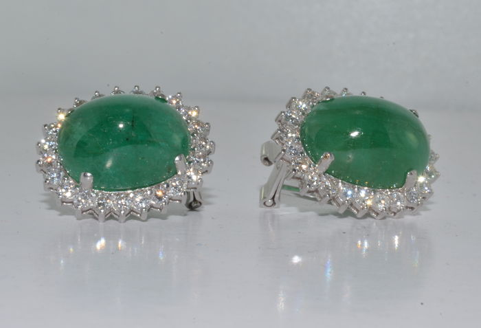 07aa489864071 18 kt gold earrings with emeralds of 20 ct and diamonds 3 ct *** no reserve  price*** - Catawiki