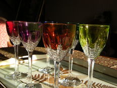 Set of 6 Roemer glasses, stamped Baccarat, France, XXth century.