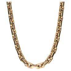 Yellow gold anchor chain necklace