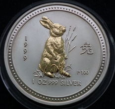 Australia - 1 Dollar 1999 'Lunar I - Year Rabbit - 1 oz silver and gold plated