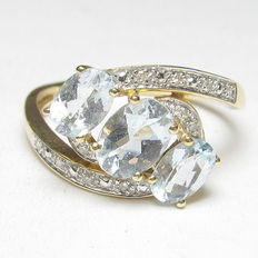 "14K Yellow Gold Natural Light Blue Aquamarijn Diamond Ring 1.55 Cts "" Geen Reserveprijs"""