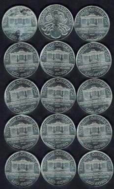Austria-Large lot with 15 PCs silver bullion coins-a piece 1 troy ounce of pure silver