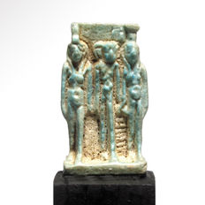 Egyptian Turquoise Faience Triad Amulet of Isis, Nephthys and Horus, 2.9 cm L
