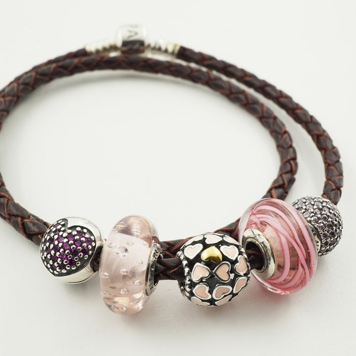 b3e5cec271dd8 Pandora, Moments dark brown leather bracelet with 5 assorted charms ...