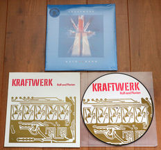 Kraftwerk- lot of 2 limited edition lp's: Auto Uk Bahn (2lp, numbered edition of 500 copies, w. holographic cover & on BLUE wax) & Ralf And Florian picture disc lp (w. Vertigo cover!)