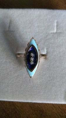 Ring in 18 kt, 750/1000 rose-tinted gold with dark and light blue enamel, with 3 diamonds in the centre