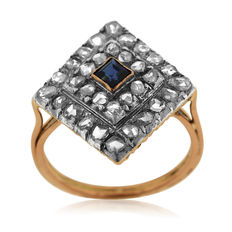 Diamond and Synthetic Sapphire Ring, Ca 1875. - No Reserve