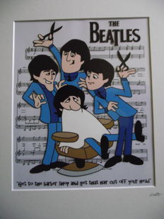The Beatles - 1965 Cartoon - Barber shop - Hand Drawn & Hand Painted Cell.