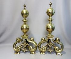 Large heavy bronze and wrought iron andirons-early 20th century