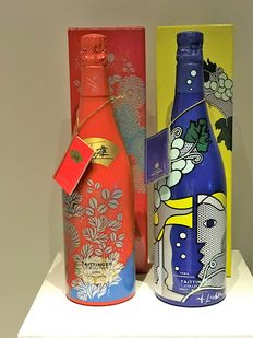 Taittinger Collection: 1985  Roy Lichtenstein - 1988 Imai , Champagne - 2 Flessen