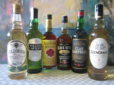 6 bottles - 1 Four Roses Bourbon 70 cl - 1 William Lawson's 70 cl - 1 Glen Grant 5 years 70 cl - 1 Goldmoor Heritage 5 years 70 cl - 1 Clan Campbell 70 cl - 1 Black River 3 years 70 cl