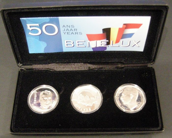 "Benelux – 10 guilders 1994 + 250 francs 1994 (2x) ""50 years Benelux"" (3 different coins) in set - silver"