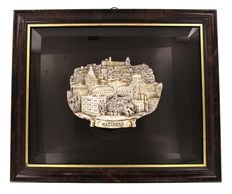 Frame with silver scene city of Nazareth, Israel, Zadok Arts Ltd