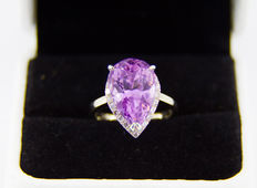 Natural 12 ct kunzite ring with 0.60 diamonds