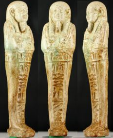 Egyptian faience Shabti of PA-DI-OSIRIS born of the lady IRBINAT - ca. 13 cm a. 5,12 inches