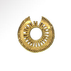 Greek Ornamental Open Work Gold Hair Ring, 2.2 cm D