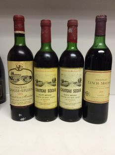 1974 Chateau Chasse-Spleen Moulis-en-Medoc, 2x 1977 Chateau Segur Cru Bourgeois Haut-Medoc, 1979 Chateau Lynch-Moussas Grand Cru Classe Pauillac, France – 4  bottles of 0.75 litre