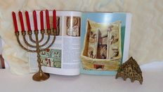 Judaica Menorah & a Judaica brass letters holder & book Jewish culture