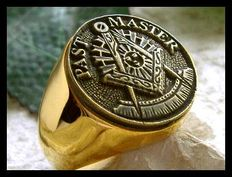 """Free Masson """"Past Master"""" Men's Hypoallergenic 24k Gold Plated Ring"""