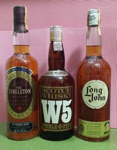 3 bottles - Singleton of Auchroisk 10 years old & Double U Five over five years old & Long John Special reserve .