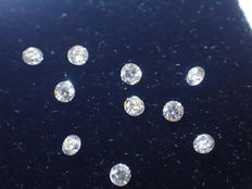 Lot of 10 diamonds, 1.70 mm, brilliant-cut, total 0.20 ct, E/VVS1