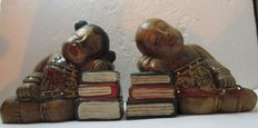 Book objects; Japanese sandalwood bookends - 2nd half of the 20th century
