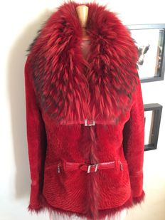 Red fur coat with raccoon collar