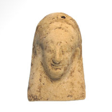 Greek Terracotta Applique, Bust of the Goddess Persephone, 11.25 cm L
