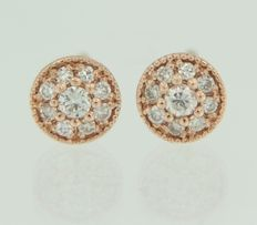 14 kt Red gold ear studs set with 18 brilliant cut diamonds ****NO RESERVE PRICE!****