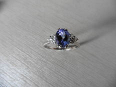 Platinum Tanzanite and Diamond Ring - size 55