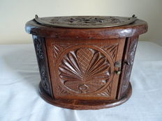 Frisian carved stove with brass handle - Holland - anno 1893