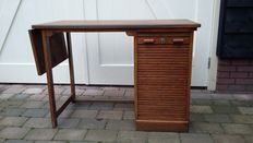 Designer unknown - so called  'drop-leaf' desk with archive cupboard.