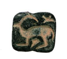 Stamp seal, gazelle + bird, 5th/ 4th century, steatite - h = 21.8mm