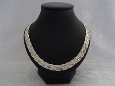 "Wide braided silver ""herringbone"" necklace"