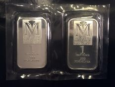 U.s. A-2 pieces silver bars, 2 x 1 oz. 999, Mid-States Recycling & Refining