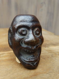 Bronze Noh mask netsuke - Japan - approx. 1900