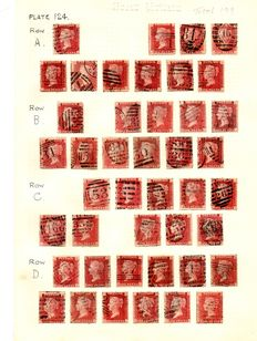 Great Britain Queen Victoria 1864/1879 - 1d Red Stanley Gibbons 43 Plate 124 - Near Complete Sheet Reconstruction
