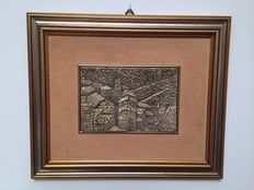 925 Silver laminated low relief (= 3 g of silver) with pleasant passe-partout and gilded wood frame Brand Ottaviani - Italy, 20th C