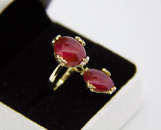 14k Ring and pendant set with cabochon cut rubies,  nearly 9.5 ct. total and diamonds 0.10 ct. , ring size: 18 (18 USA) .